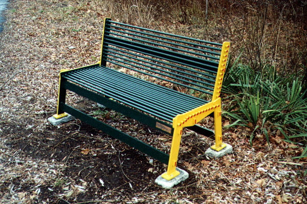 Two benches permanently installed along the Nashua River Rail Trail. Very sought design. Colors pulled from a Thomas The Tank Engine toy.