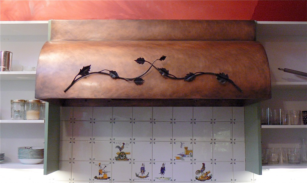 Copper Range Hood with Branch and Leaf accent